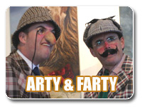Arty and Farty - roving comedians and comedy actors for conference dinners, private parties and corporate entertainment, Auckland, Wellington, Christchurch Canterbury New Zealand.