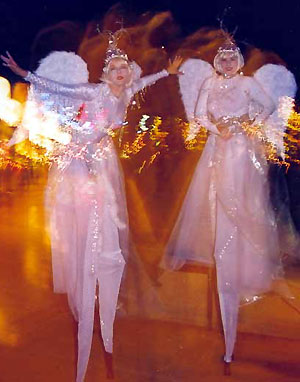 Nordic Ice Angels, Sydney, stilt walkers, roving characters, roaming performers, meet and greet, professional entertainers. www.talentonline.com.au/database/christmas-entertainers.html